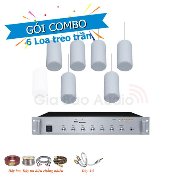 Combo lắp đặt âm thanh 6 loa treo trần cho nhà hàng, , quán café (Cà phê), cửa hàng