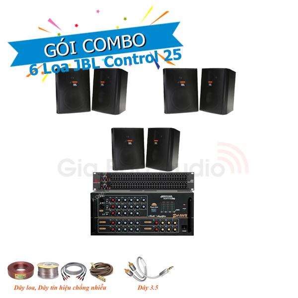 Combo lắp đặt âm thanh 6 loa treo tường JBL Control 25